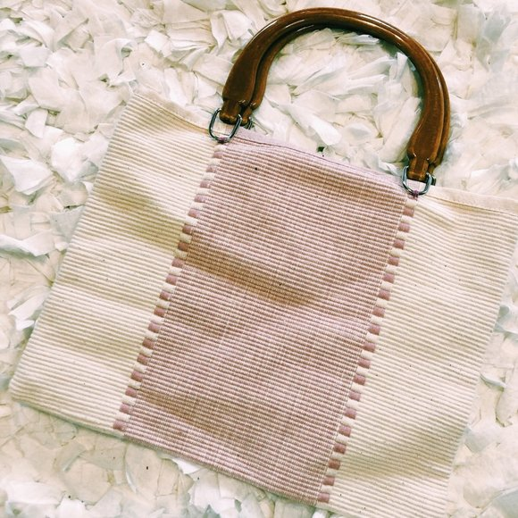 Vintage Handbags - Vintage Pink & White Tote Style Acrylic Handle Bag